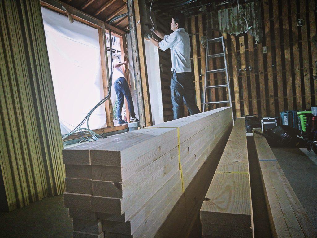 西洞院の現場では造作工事を行なっております;