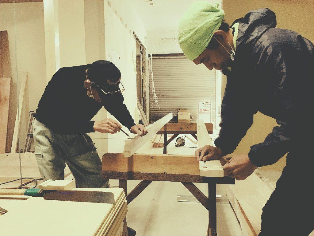 京都山科写真スタジオの内装造作、大工さん作業開始でございます。;