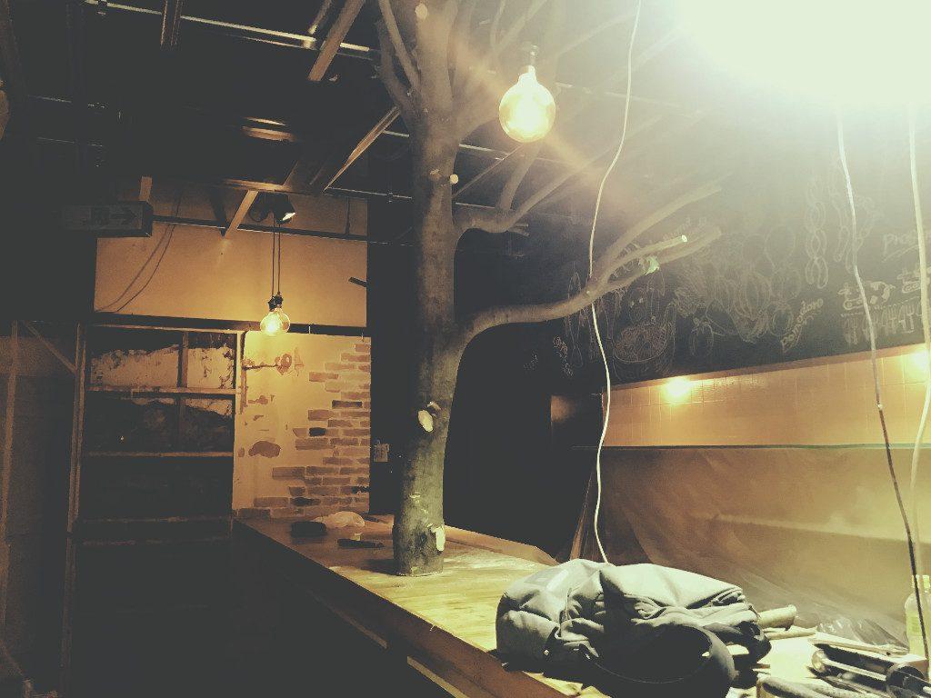 京都木屋町 ミストバーのご紹介!!大胆な造作工事の次は細やかな仕事をしております。;